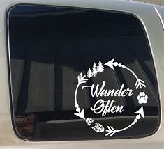 Wander Often Arrow Circle Camping Hiking Dog Paw Window Car Truck Trai Barefoot Custom Creations
