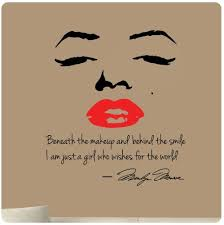 Marilyn Monroe Wall Decal Decor Quote Face Red Lips Large Nice Sticker Beneath The Makeup And Behind The Smile I Red Lip Quotes Wall Decals Wall Stickers Kids