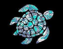 Sea Turtle In Blue Teal White Decal For Truck Car Window Ebay