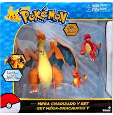 Pokemon Mega Charizard Y Exclusive Figure 3-Pack Set Tomy - ToyWiz