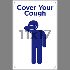 Blue Cover Your Cough Indoor Window Decal English Edu56