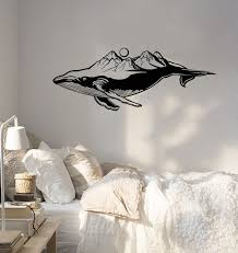 Vinyl Wall Decal Blue Whale Sea Animal Mountains Landscape Marine Styl Wallstickers4you