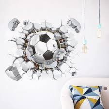 Amazon Com Awakink Soccer Ball Football Broken 3d Decorative Peel Vinyl Wall Stickers Wall Decals Removable Decors For Living Room Kids Room Baby Nursery Boys Bedroom Home Kitchen