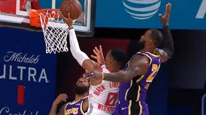 LeBron James gets a monster chasedown block on Russell Westbrook | Game 1 | Rockets vs Lakers - YouTube