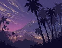 خلفية أشجار النخيل والفن ليلة والجبال والمناظر الطبيعية