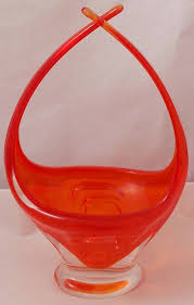 chalet canada orange art glass vase