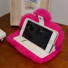 fuzzy rabbit fur flip leather case