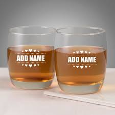set of 2 personalized whiskey glasses