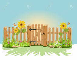A Wooden Gate And Fence With Green Grass And Flowers Royalty Free Cliparts Vectors And Stock Illustration Image 40572650