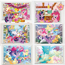 Cartoon My Little Pony Wall Stickers For Kids Rooms 3d Window Children Bedroom Wall Decals Room Decor Birthday Gift Decor Wall Stickers Aliexpress