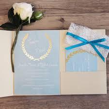 ivory and blue pocketfold invitation