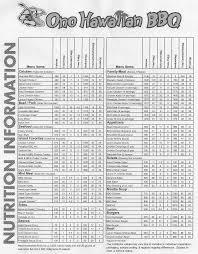 ono bbq nutrition info