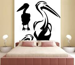 Pelican Bird Outline And Silhouette Black And White Vector Design Wall Mural Cattallina