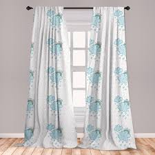 East Urban Home Ambesonne I Love You Curtains Blue Valentine Cloud Characters With Hearts And Rainbows Couples Window Treatments 2 Panel Set For Living Room Bedroom Decor 56 X 63 Pale Blue