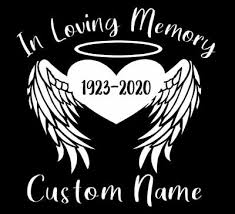 Custom In Loving Memory Angel Wings Vinyl Car Window Decal Sticker Name Rip Ebay