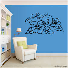 Tweety Bird Tropical Flowers Personalized W Name Large Wall Decal 22 Long Ebay