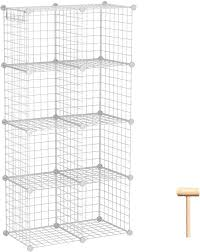 Amazon Com C Ahome Wire Storage Cubes Metal Grids Book Shelf Modular Shelving Units Stackable Bookcase 8 Cubes Closet Organizer For Home Office Kids Room 24 8 L X12 4 W X 48 4 H White Home