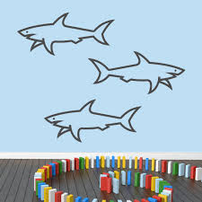 Shop Sharks Vinyl Large Wall Decals Set Of 3 On Sale Overstock 11929081