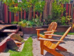 Inspired Wooden Adirondack Chairs In Landscape Eclectic With Privacy Fence Next To Privacy Fence Ideas Alongside Backyard Fence And Front Yard Fences
