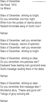 Hymn and Gospel Song Lyrics for Stars of December by Ida Reed