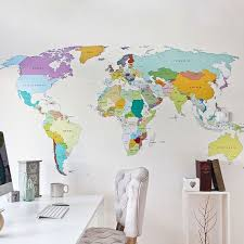 Printed World Map Self Adhesive High Detail Quality Wall Decal Etsy Map Wall Decal World Map Wall Decal World Map Wall