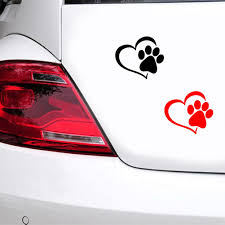 1pc Seeyule Heart Love Dog Paw Print Creative Car Sticker Reflective Window Trunk Vinyl Decals Dog On Board Sticker Car Stickers Aliexpress