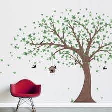 Wallums Wall Decor Printed Windy Tree With Birdhouse Wall Decal Reviews Wayfair