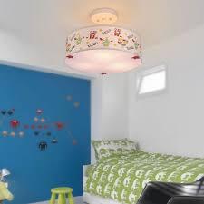 Drum Shade Ceiling Light With Safari Design Baby Kids Room Fabric Triple Lights Semi Flush Light In White Beautifulhalo Com