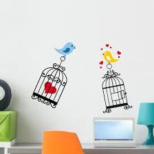 Birds Love With Birdcage Wall Decal Wallmonkeys Com