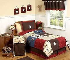 Amazon Com Sweet Jojo Designs Wild West Cowboy Western Childrens Bedding 4pc Twin Set Home Kitchen