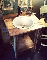 rustic reclaimed oak pedestal sink
