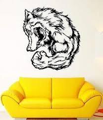 Wall Decal Animal Wolf Wickff Grin Muscles Beast Strength Vinyl Sticke Poshvinyls