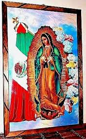 virgen guadalupe mexico flag painting