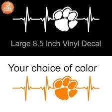 Clemson Tigers Heartbeat White Or Orange Decal 8 5 Inch Decal Sticker Car Laptop Ebay