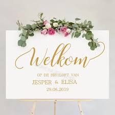 Welcome To The Wedding Board Stickers Bride Groom Custom Names Date Welkom Op De Bruiloft Van Dutch Reception Sign Decal Dz019 Wall Stickers Aliexpress