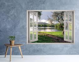 Flower Garden Landscape Window 3d Wall Decal Art Removable Etsy