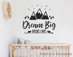 Wall Decal Kids Quote Nursery Wall Decals Dream Big Wall Decal For Kid Surface Inspired Home Decor Wall Decals Wall Art Wooden Letters
