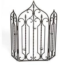 fire guard with candle holder in black