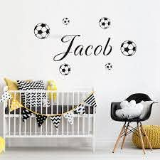 Soccer Wall Sticker Custom Name Child Bedroom Boys Room Vinyl Decal Football Ebay
