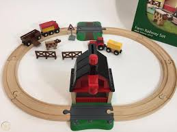 farm railway wooden train set 33719