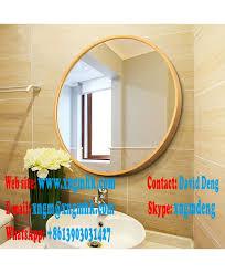 wood frame round wood wall mirror