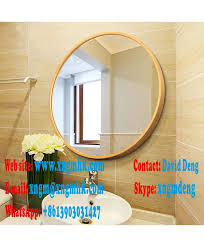 wood frame round wood wall mirror