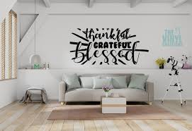 Thankful Grateful Blessed Wall Decor Thankful And Blessed Wall Art Gratitude Wall Decal Living Room Decor Bedroom Decor Dining Room Wall Decals Living Room Wall Decor Grateful Wall Art