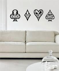 Skulls Playing Card Suits Art Decal Sticker Wall Vinyl Playing Card Tattoos Vinyl Wall Art Decals Vinyl Wall