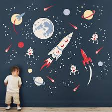 Space Rocket Wall Stickers Space Wall Decals Space Themed Room Space Themed Bedroom