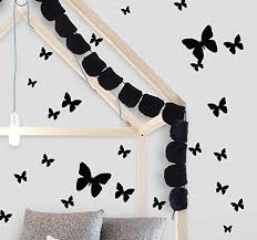 Amazon Com Butterfly Wall Decals 26 Butterfly Wall Decor Stickers Peel Stick Girls Wall Stickers Black Arts Crafts Sewing