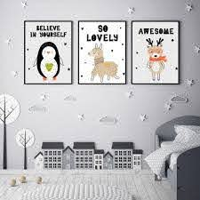 Cute Cartoon Animals For Kids Room Wall Art Nordic Style Fine Art Canvas Prints Nordicwallart Com