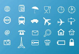 travel icons vector art graphics