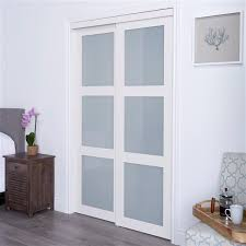 x 80 in off white frosted glass sliding