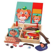 Montessori Đồ Chơi Bảng Nam Châm Trẻ Em Juguetes 2 In1 3D Ghép Hình Từ Mặt  & Vẽ Đồ Chơi Gỗ Giáo Dục Cho Trẻ Em|